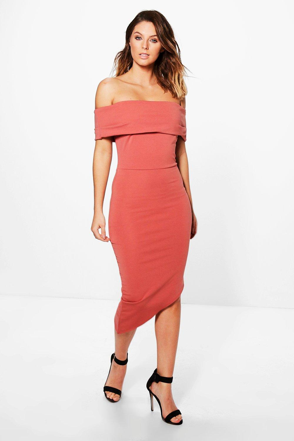 Zoe Off Shoulder Asymmetric Hem Midi Dress