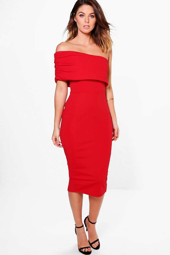 Tia Off Shoulder Panel Detail Midi Bodycon Dress