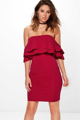 Gracie Frill Off Shoulder Bodycon Dress