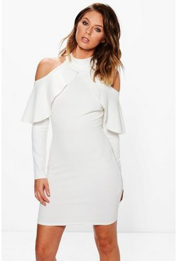 Ria High Neck Frill Open Shoulder Bodycon Dress