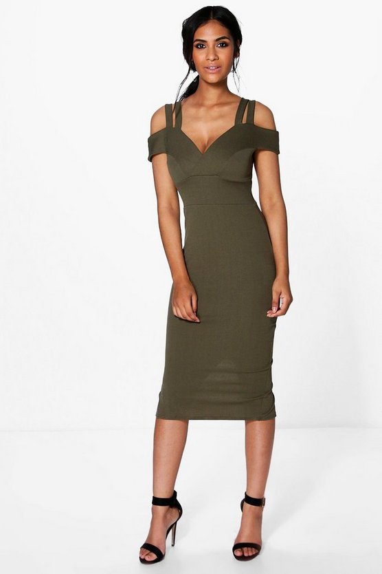 Kya Strappy Cold Shoulder Midi Bodycon Dress