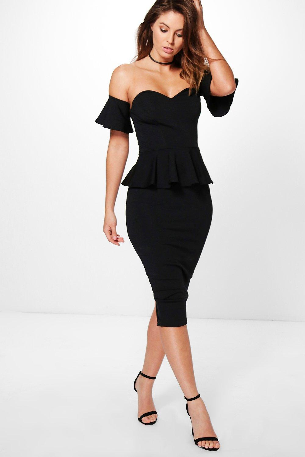 Eva Off Shoulder Frill Detail Peplum Midi Dress