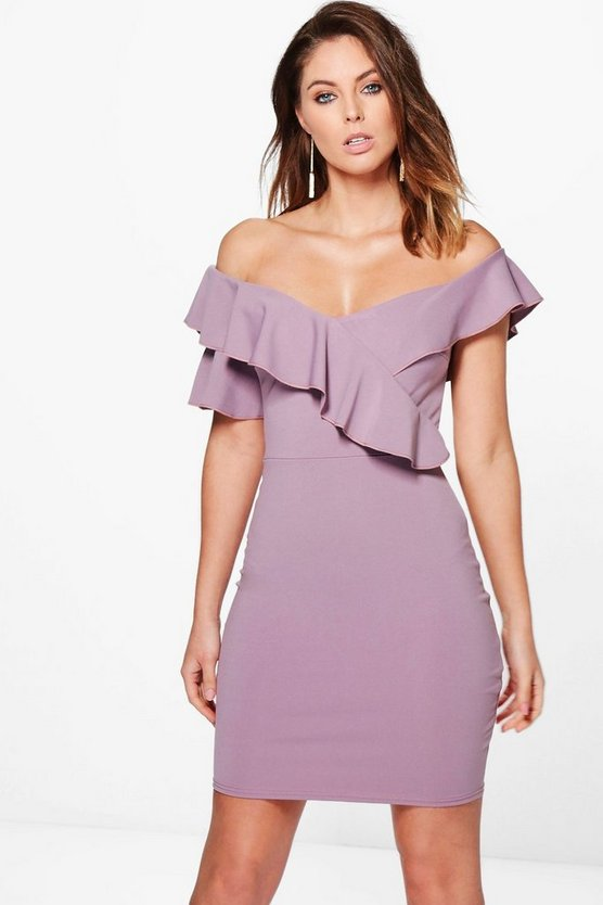 Jess Frill Off Shoulder Detail Bodycon Dress