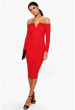 Jody V Plunge Off Shoulder Midi Dress