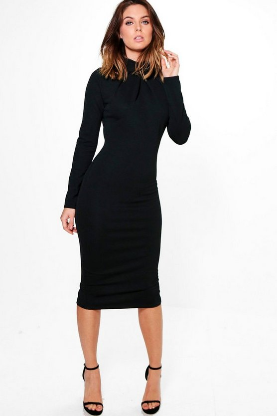 Em High Neck Pleat Detail Long Sleeve Midi Dress