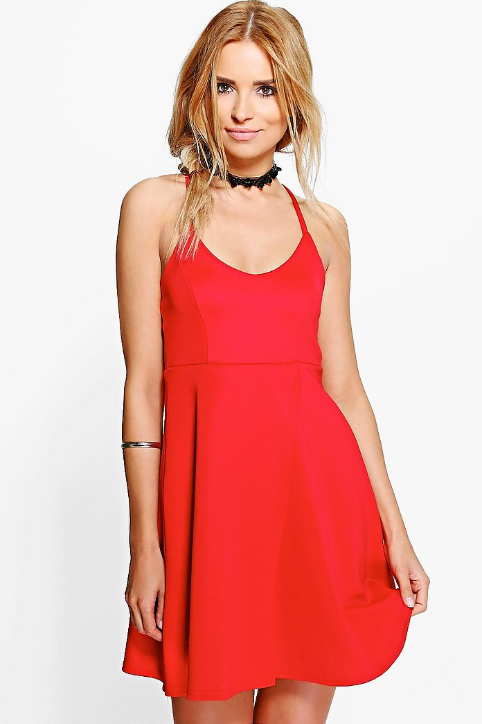 Pamela Strappy Wrap Over Skater Dress