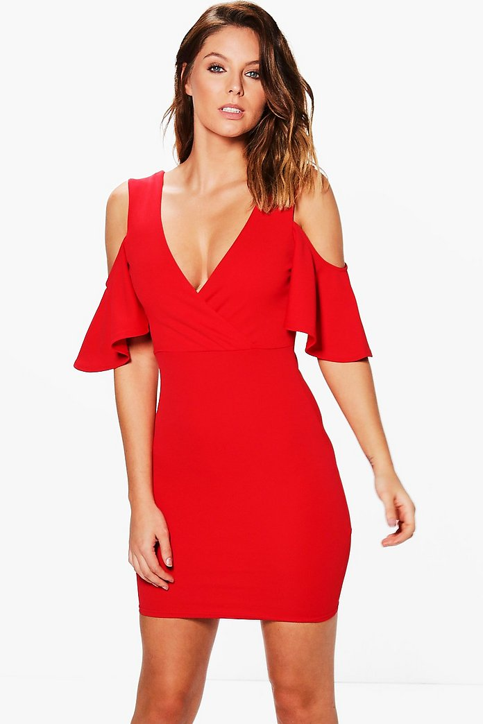 Jo Cold Shoulder Bell Sleeved Bodycon Dress