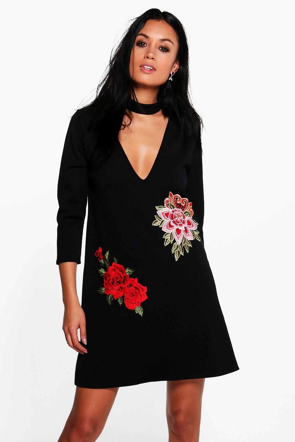 Taylor Embroidered Choker Shift Dress