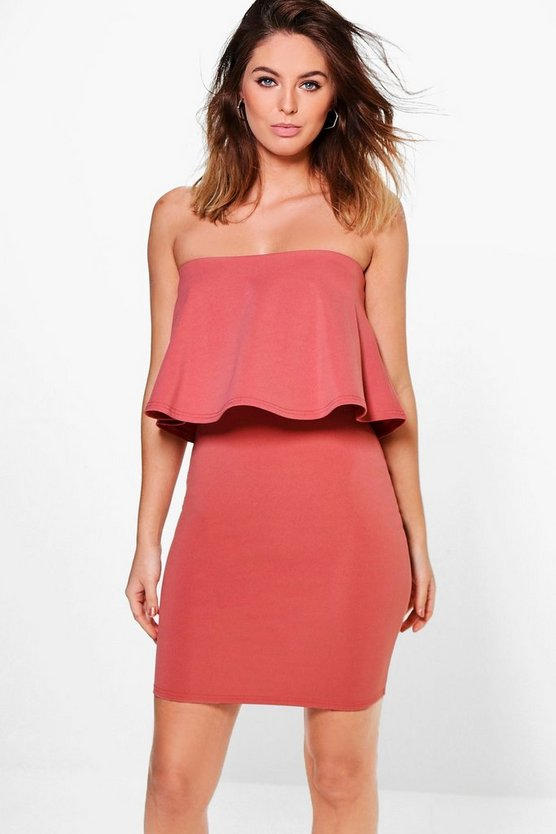Elsie Bandeau Frill Layer Bodycon Dress