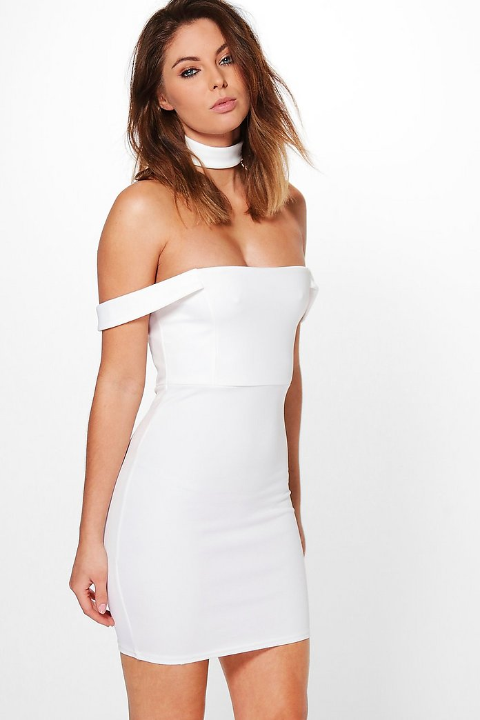 Si Strappy Off Shoulder Choker Bodycon Dress