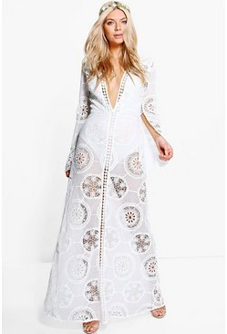 Boutique Aiyla Premium Lace Trim Maxi Dress