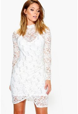 Verity Sequin Lace Mock Wrap Dress