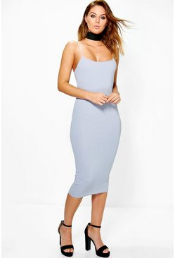 Kat Tassel Detail Choker Midi Bodycon Dress