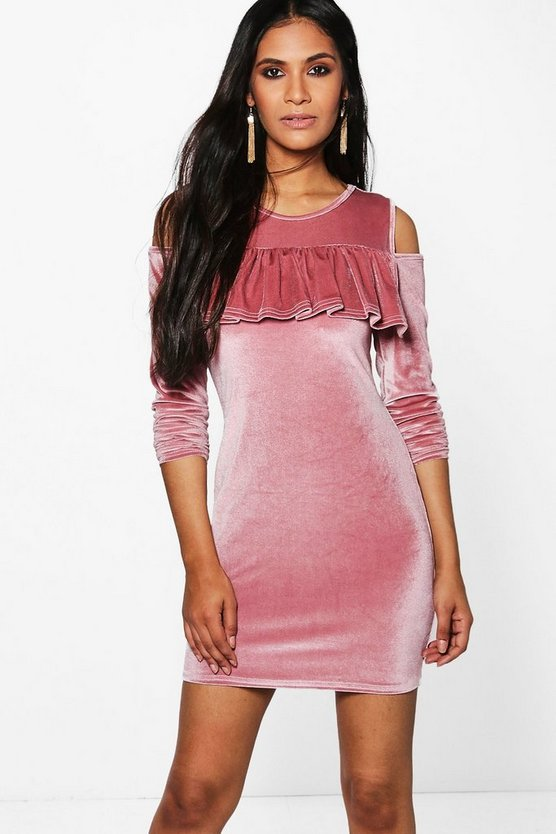 Sarah Cold Shoulder Velvet Shift Dress