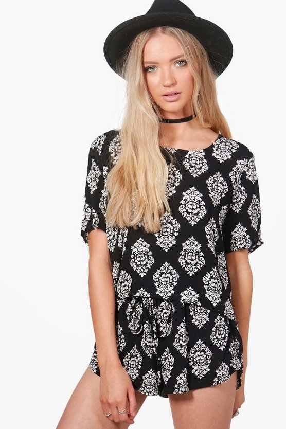 Zaira Woven Cami Short Printed Co-Ord