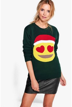 Erin Hearts Emoji Christmas Jumper