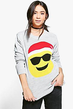 Katie Sunglasses Emoji Christmas Jumper