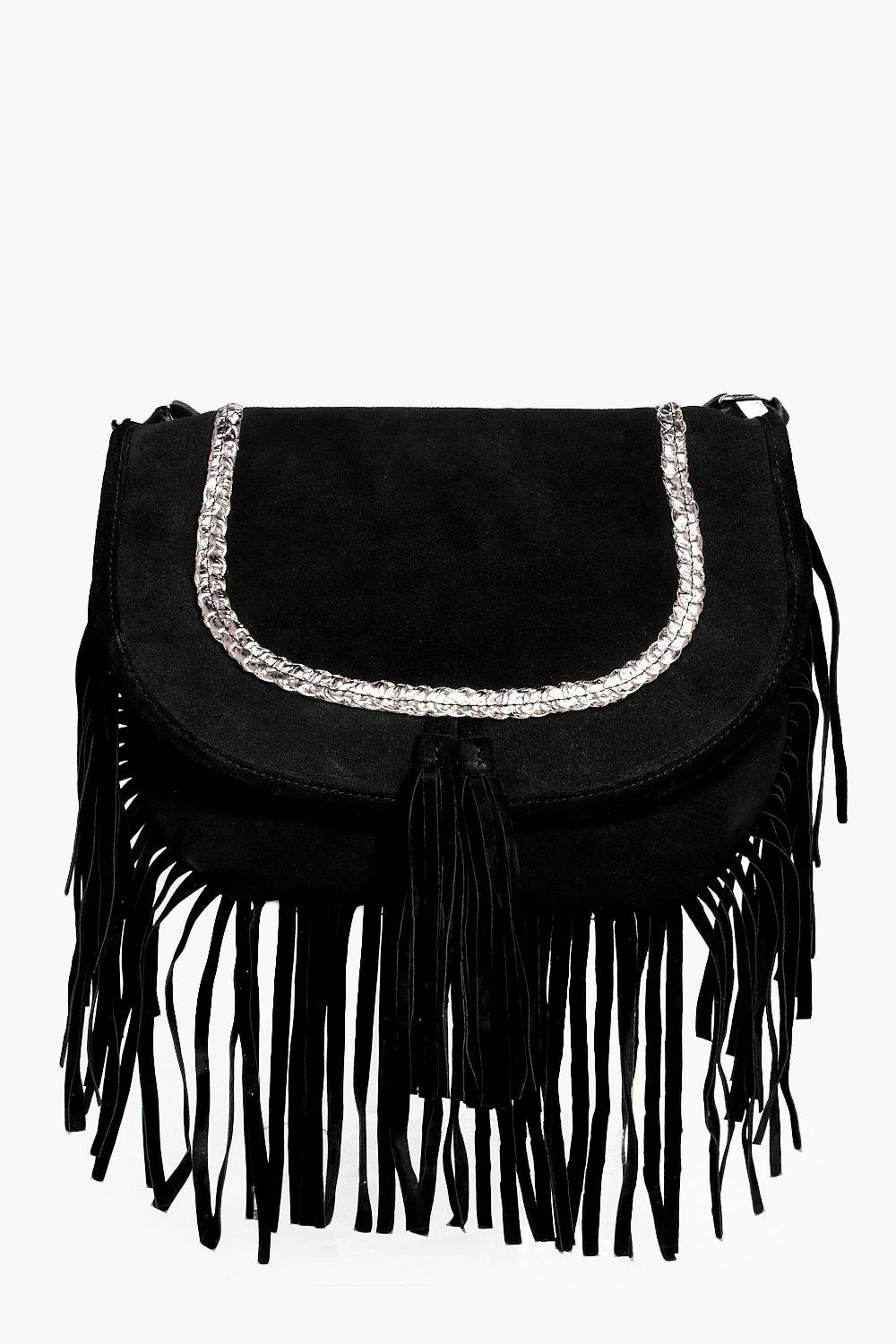 Boutique Suede Plait Cross Body Bag - black - Holl