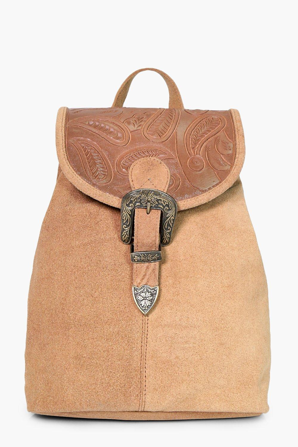 Boutique Leather Buckle Detail Backpack - tan - Is