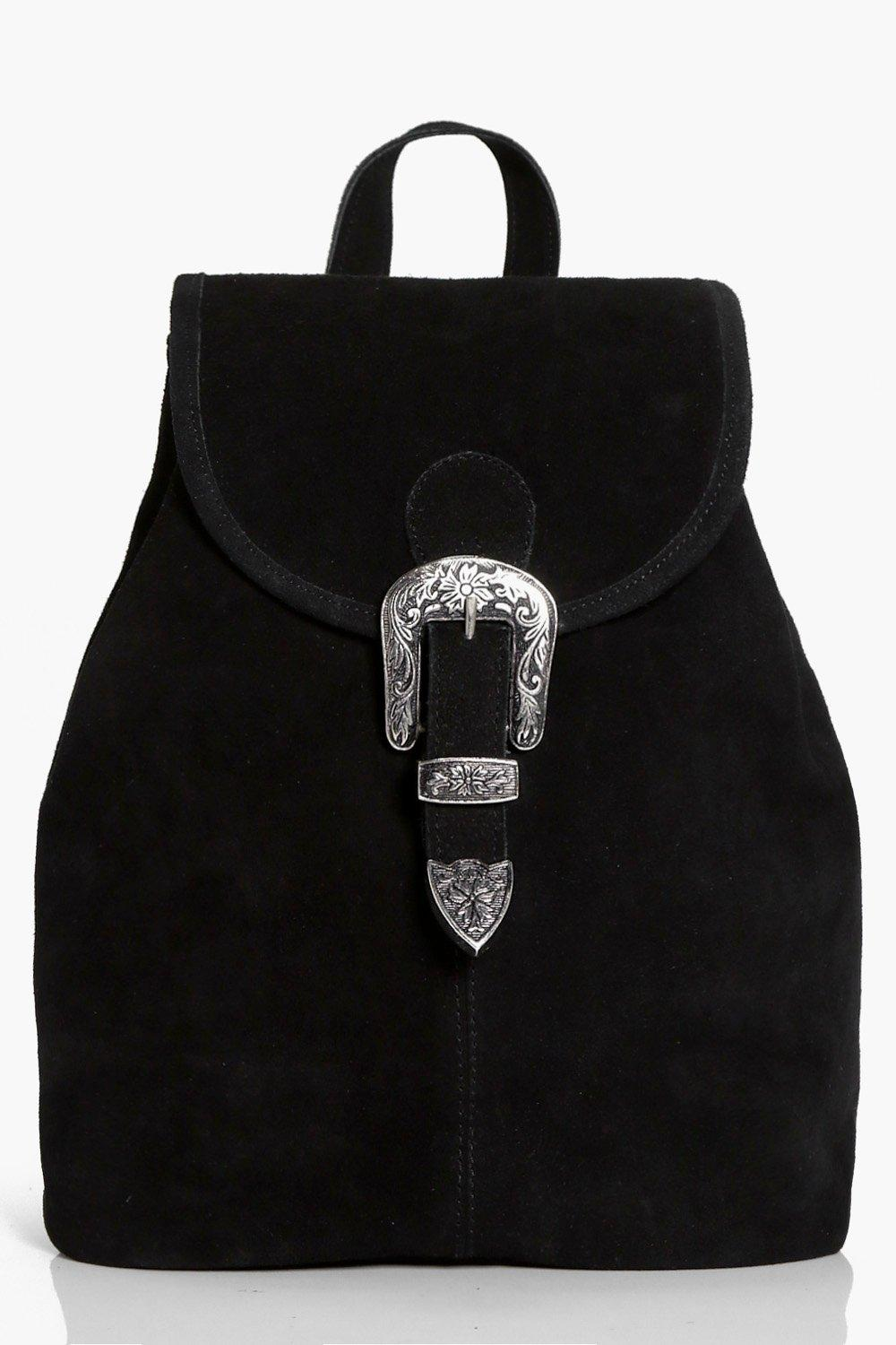 Boutique Suede Buckle Detail Backpack - black - Po