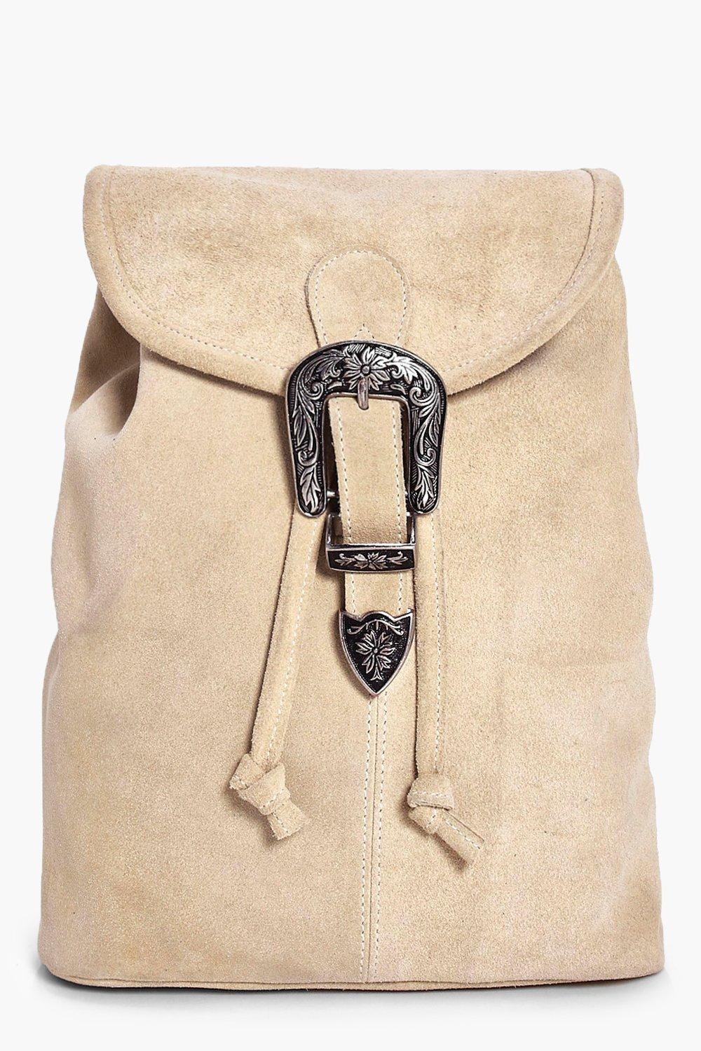 Boutique Suede Buckle Detail Backpack - nude - Pop