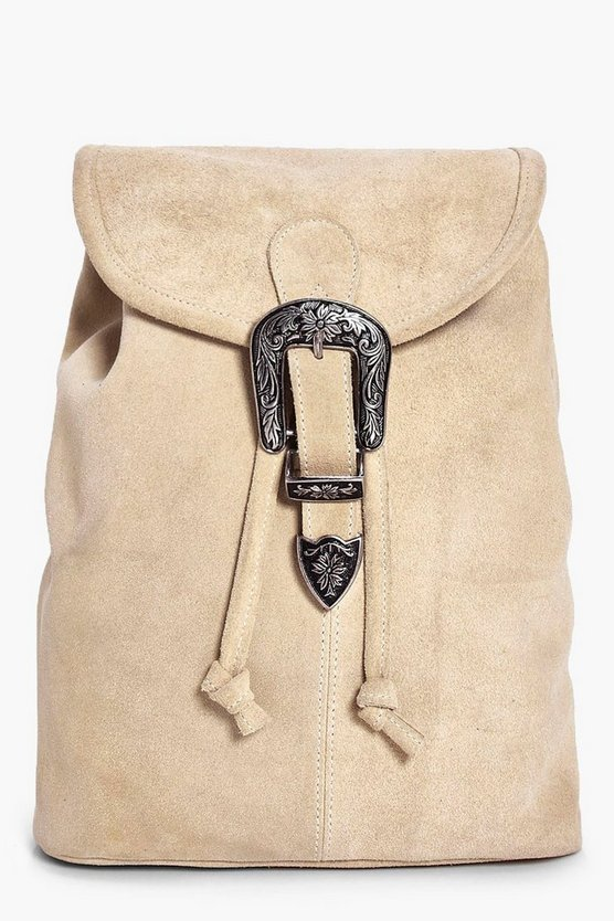 Poppy Boutique Suede Buckle Detail Backpack