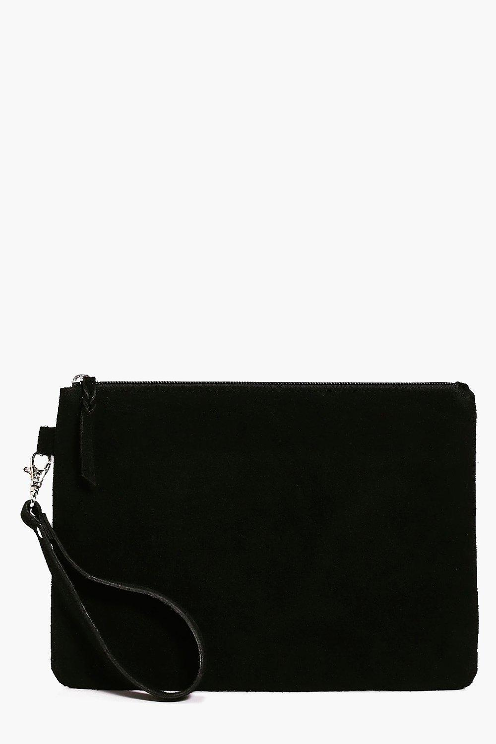 Boutique Leather Zip Top Clutch - black - Lucy Bou