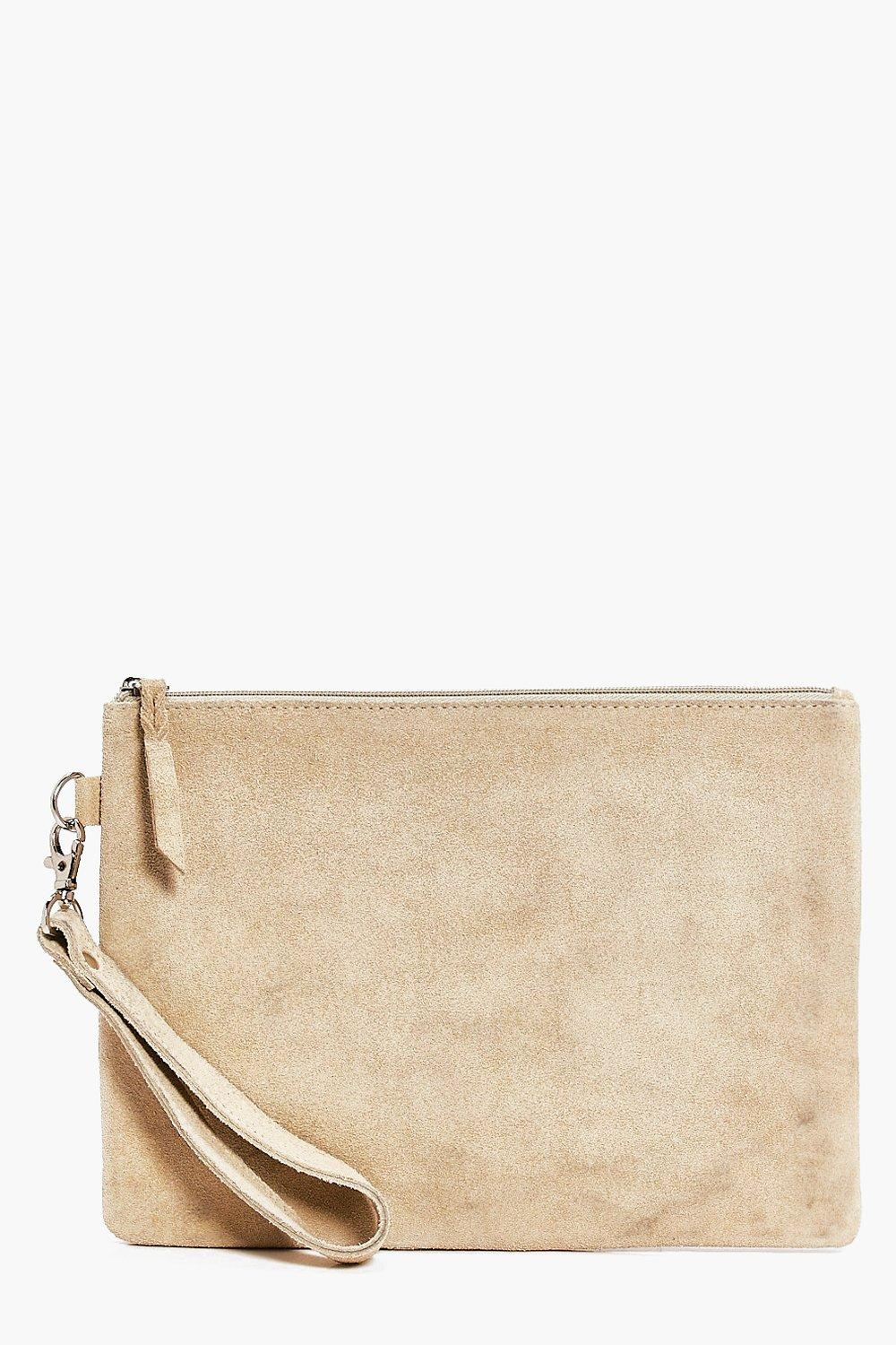 Boutique Leather Zip Top Clutch - nude - Lucy Bout