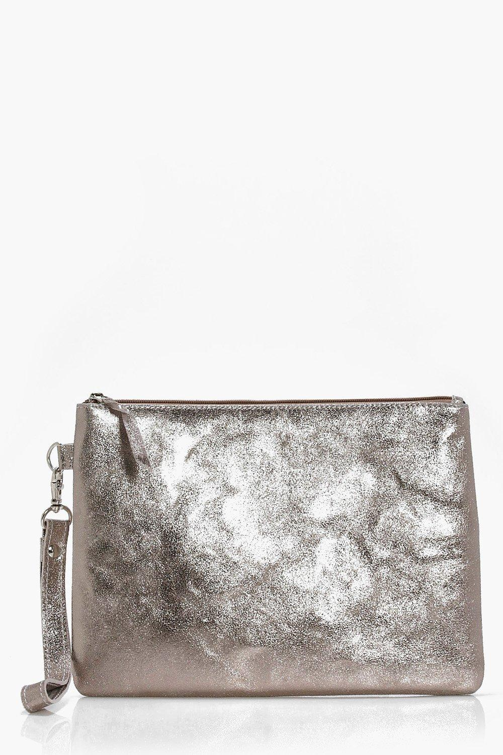 Boutique Distressed Leather Clutch - pewter - Dais