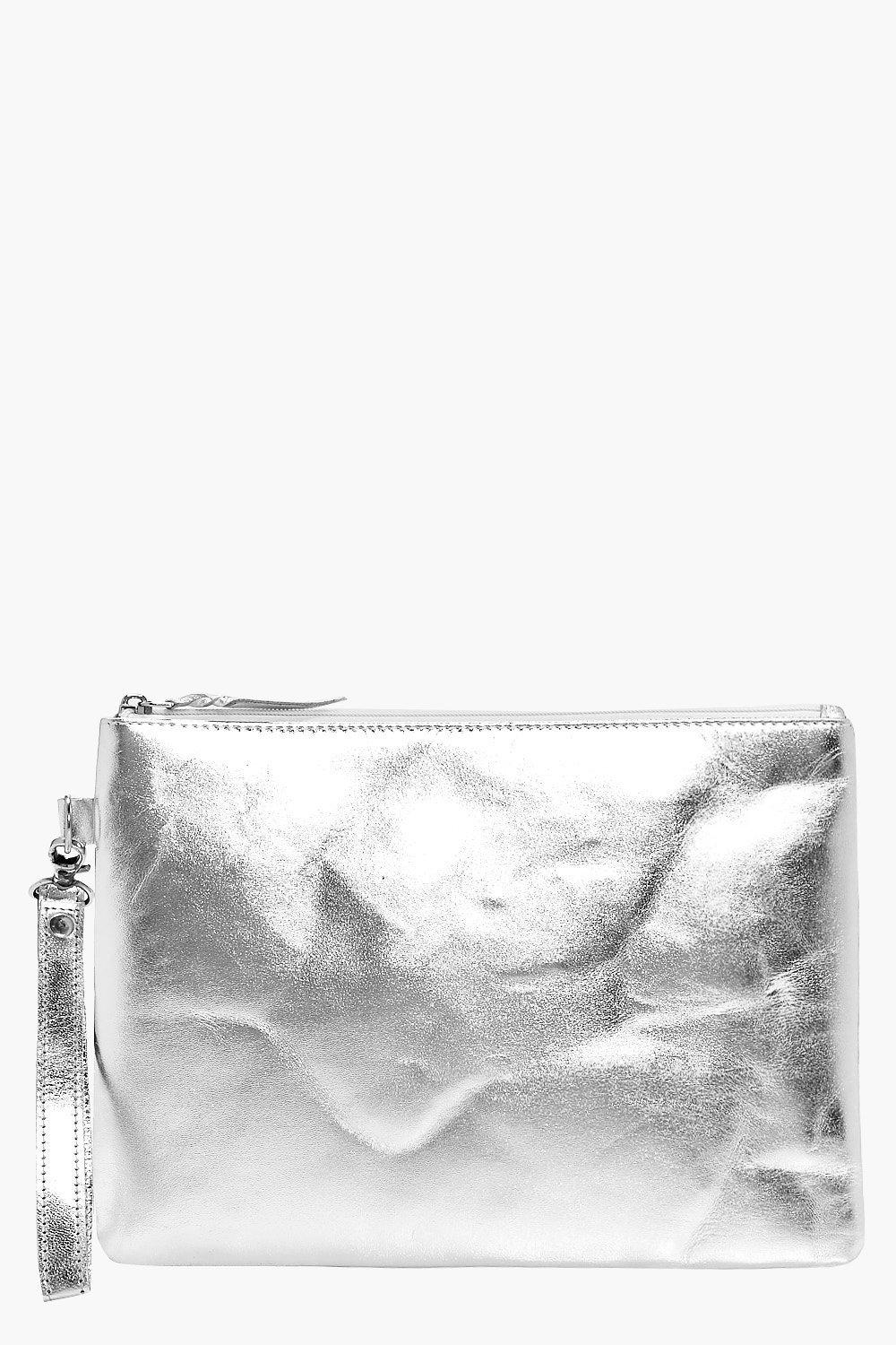 Boutique Distressed Leather Clutch - silver - Ella