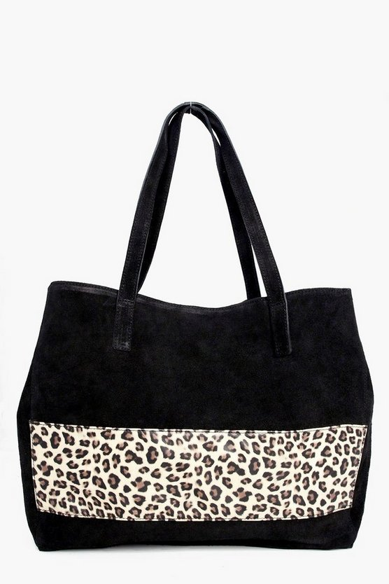 Lola Boutique Suede Animal Panel Day Bag