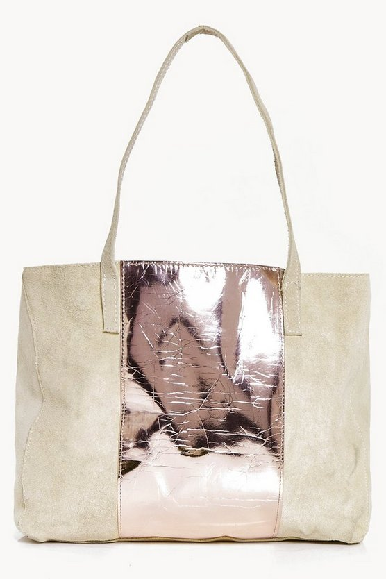 Alice Boutique Suede Metallic Panel Day Bag