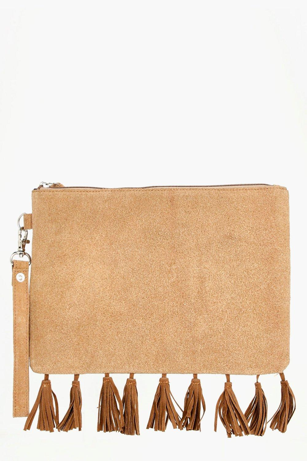Boutique Suede Fringed Cross Body Bag - tan - Eva