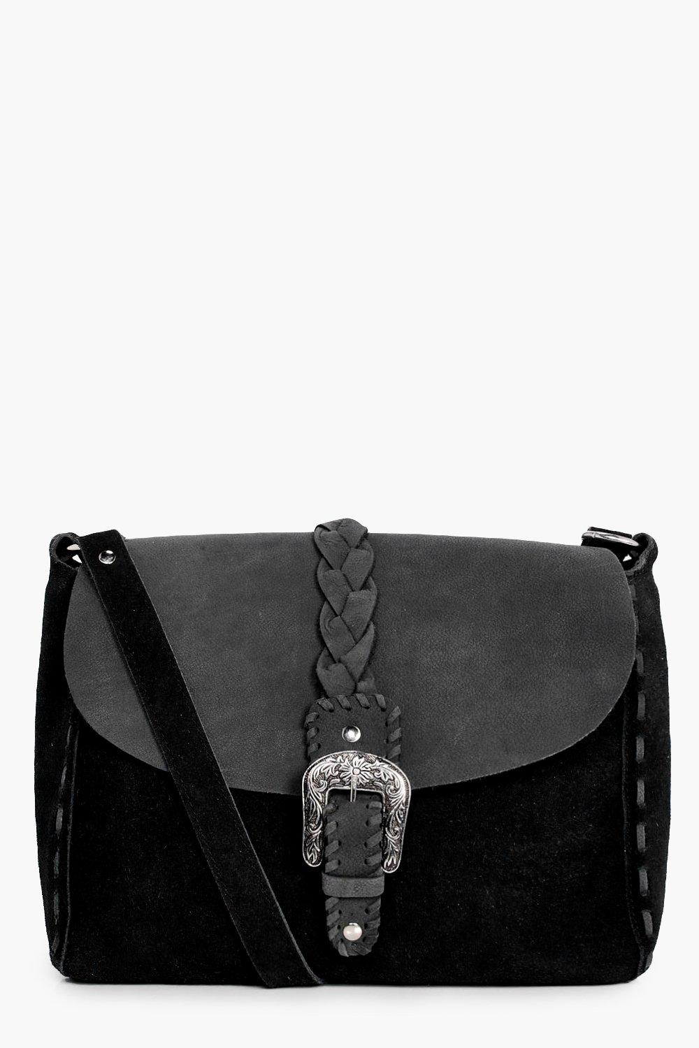 Boutique Leather & Suede Buckle Cross Body Bag - b