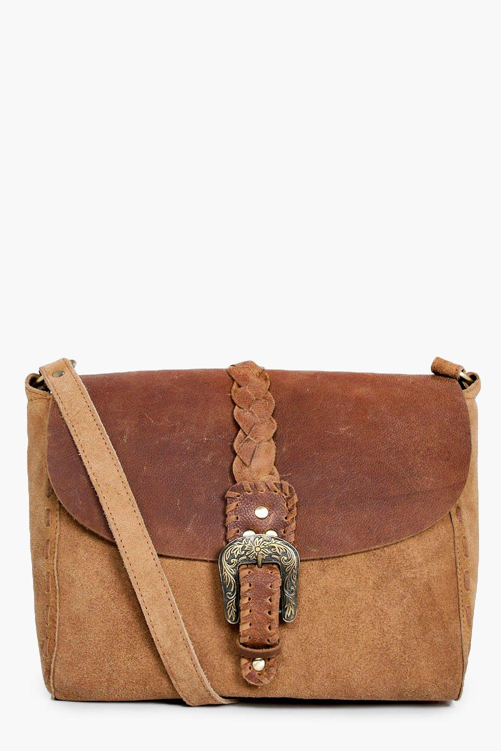 Boutique Leather & Suede Buckle Cross Body Bag - t