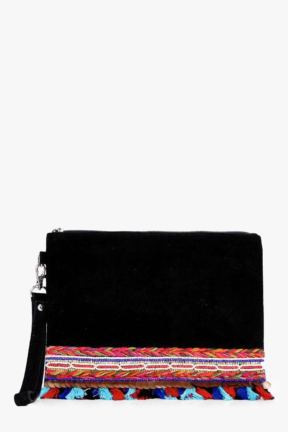 Boutique Embellished Pom Suede Clutch - black - Be