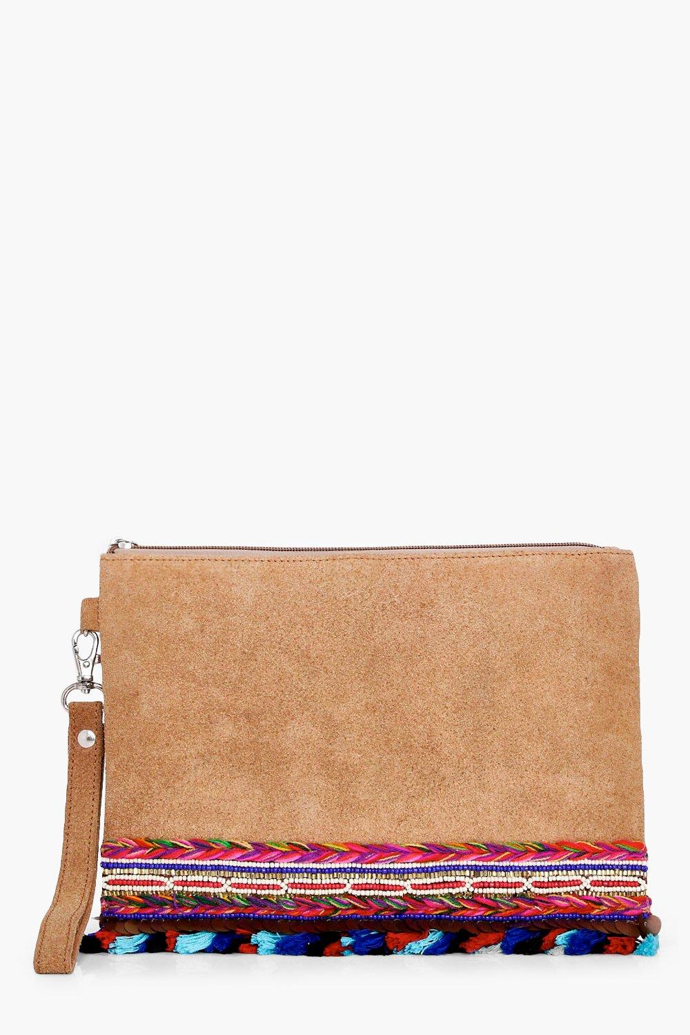 Boutique Embellished Pom Suede Clutch - tan - Bell