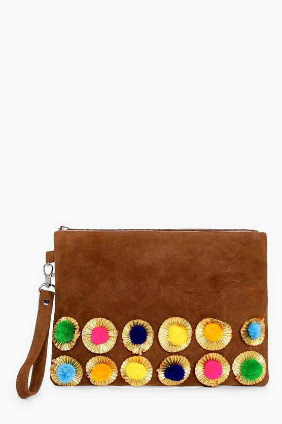 Lacey Boutique Pom Trim Suede Clutch