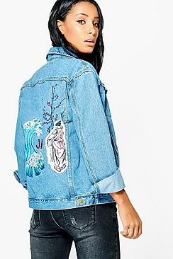 Jodie Oversized Embroidered Back Denim Jacket