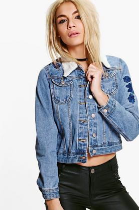 Ria Felicity Borg Collar Embroidered Denim Jacket