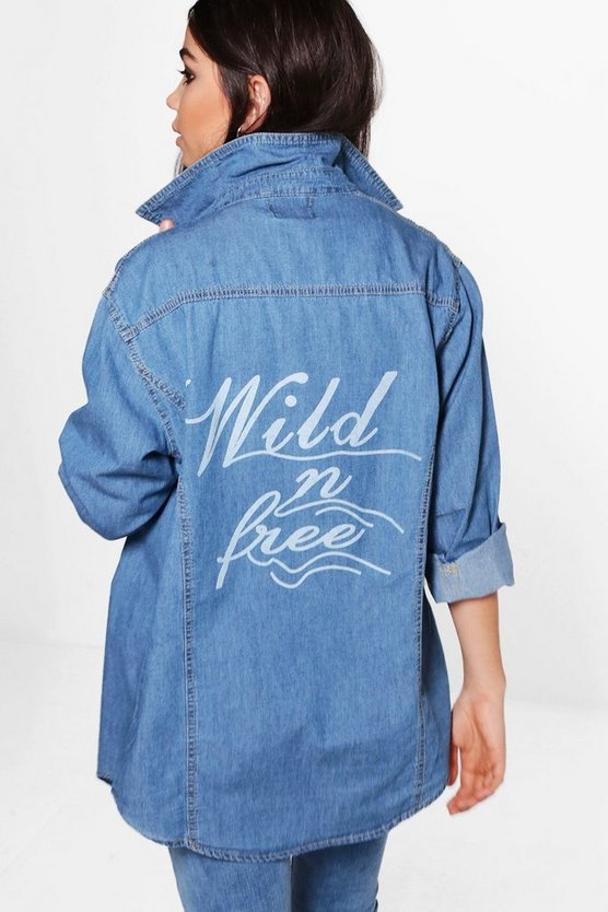 Claudia Oversize Back Print Denim Shirt