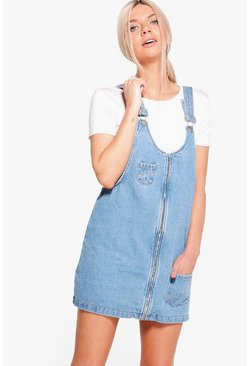 Lara Zip Through Slogan Pinafore Dress