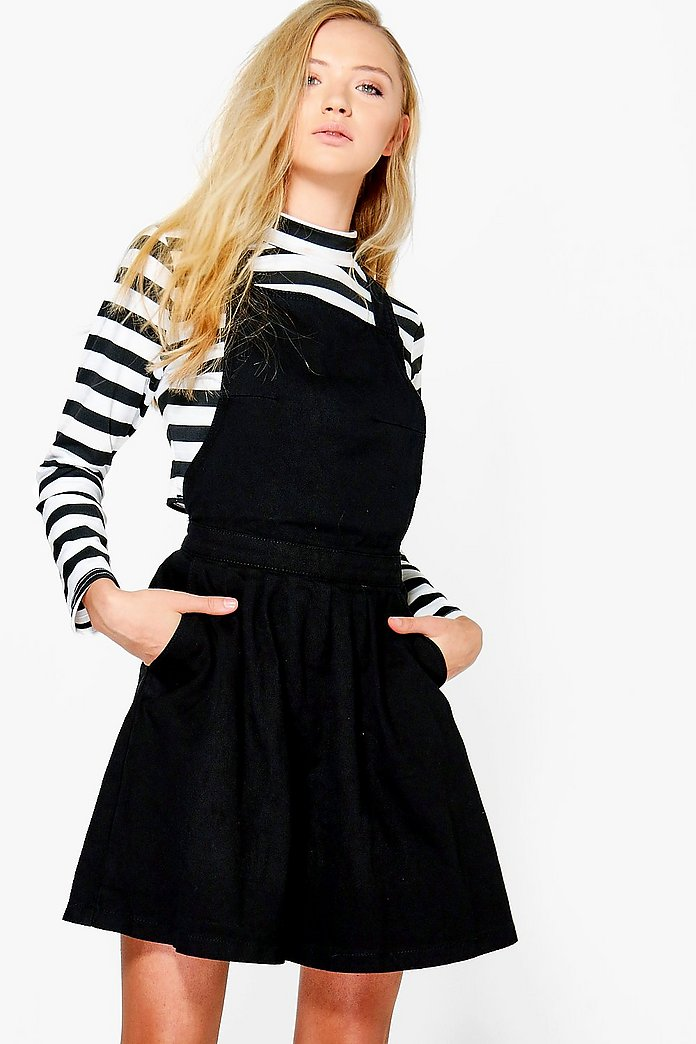Shona Denim Skater Style Denim Pinafore Dress