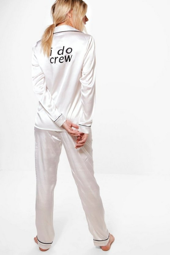 Nina Satin Bridal 'I DO' Slogan trouser PJ Set