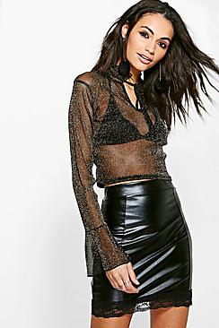 Aimee Mesh Long Sleeve Top With Bell Cuff