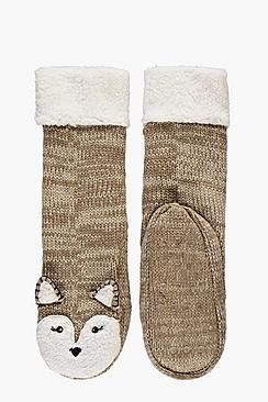 Bella Animal Cosy Fleece Lined Slipper Socks