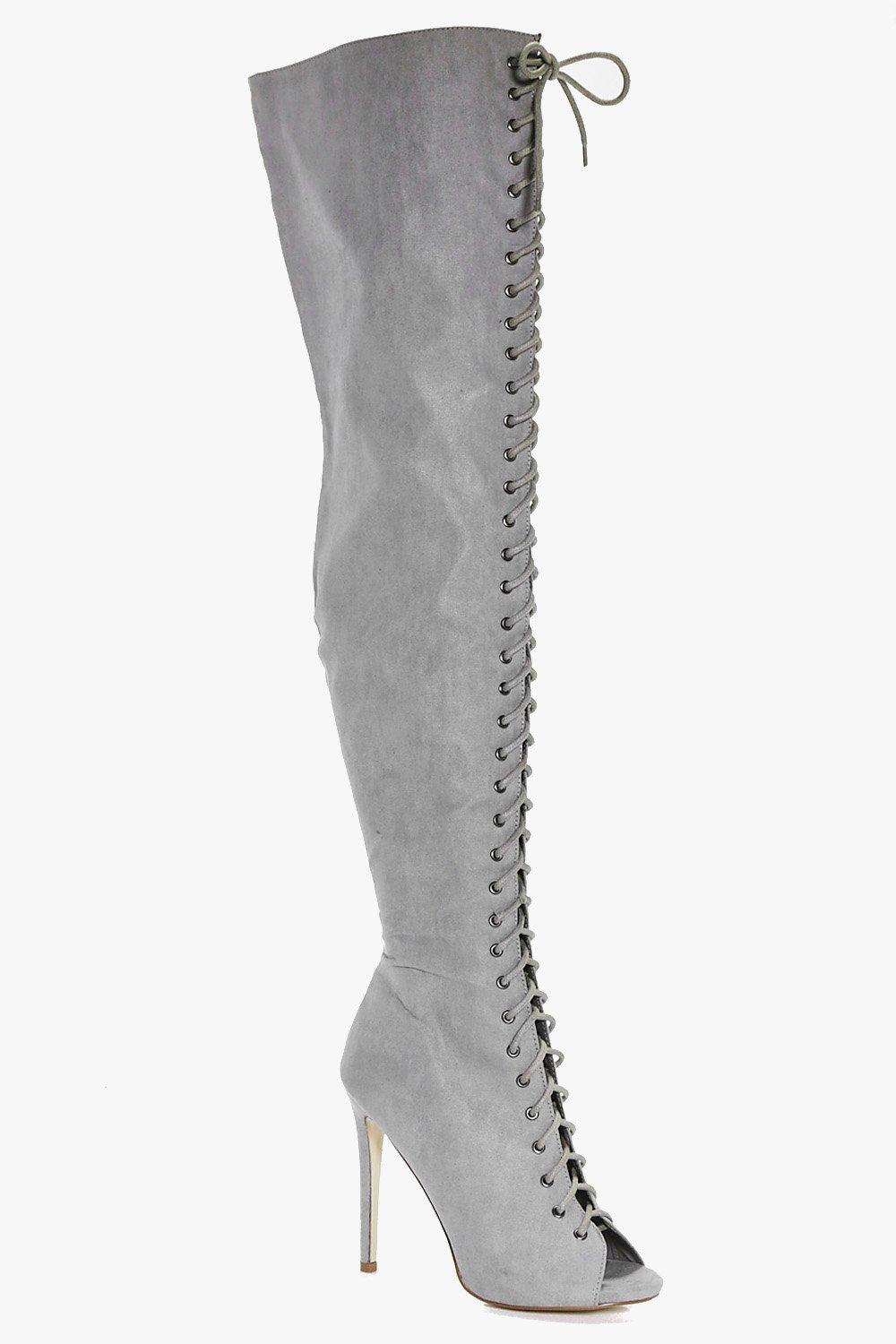 Leila Lace Up Over The Knee Boot