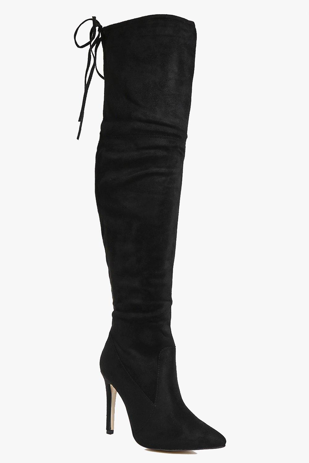 Rose Lace Back Pointed Over The Knee Boot