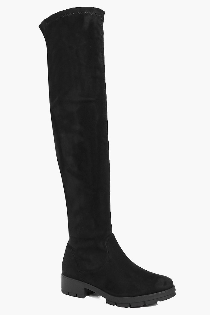 Scarlet Knee High Cleated Boot