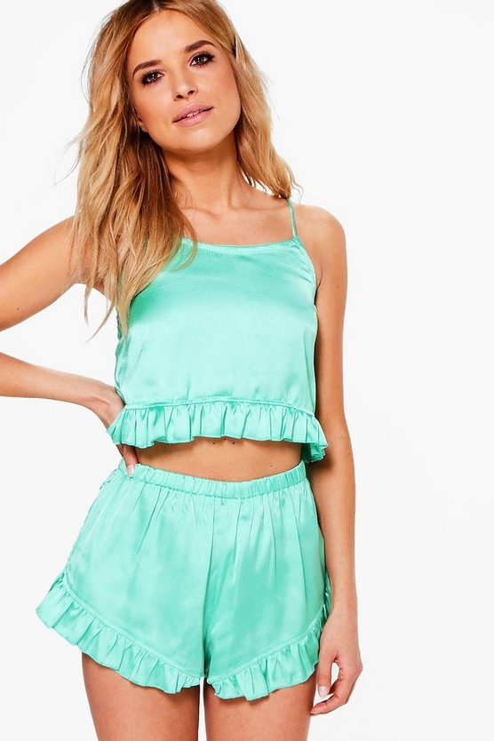 Satin Lettuce Hem Cami & Short PJ Set